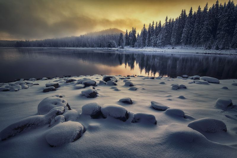 пейзаж, природа, landscape, nature, snow, sunrise The first snow.photo preview