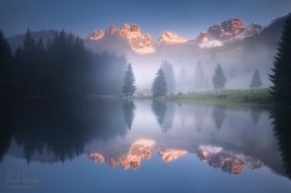 Mysterious morning by the lake