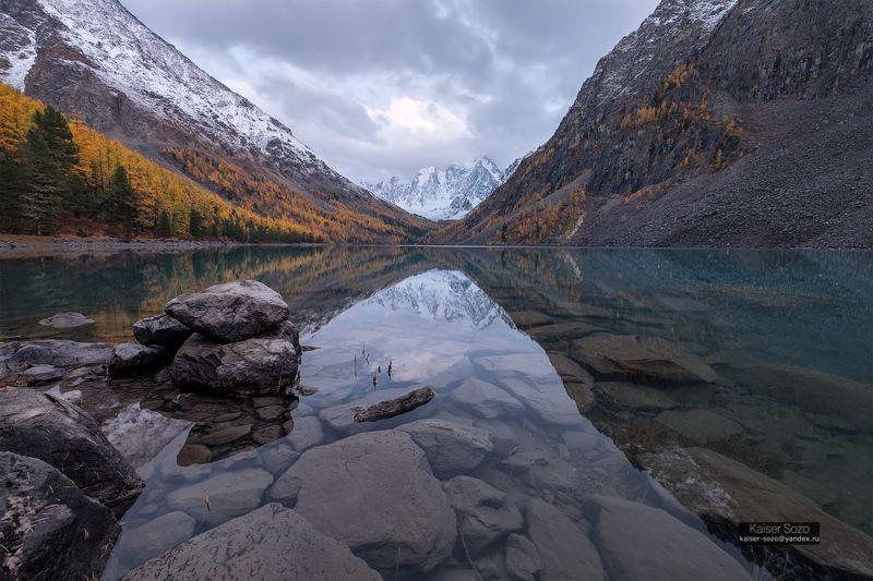 россия, сибирь, горный алтай, шавлинские озера, золотая осень, отражение, горы, лиственницы После буриphoto preview