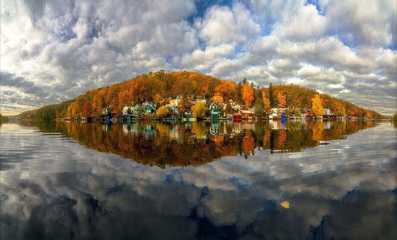 осень, воронеж, отражение Осенний Рыбачий, Воронежская областьphoto preview