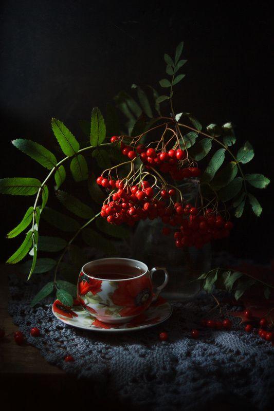 рябина, натюрмрт, чай, осень с веткой рябиныphoto preview