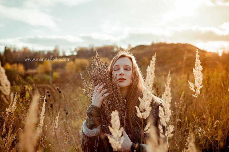 portrait, woman portrait, woman, autumn, light, lighting, sky, sun, photo, photography, фото, фотография, портрет, женский портрет, солнце, свет Девушка-осень.photo preview