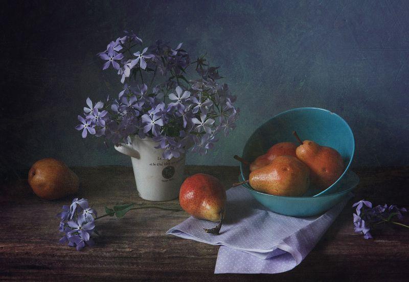 натюрморт, флоксы, груши, синий, голубой букет флоксов шиловидных в холодных тонахphoto preview
