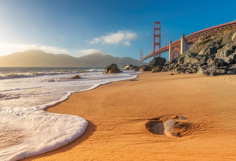 golden, gate, bridge, francisco, san, california, usa, beach, sunset, bay, ocean, america, sea, american, coast San Francisco Beachphoto preview