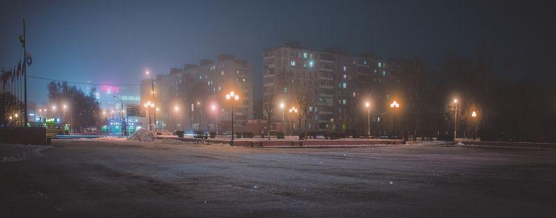 орехово-зуево, зима, декабрь, туман, подмосковье, октябрьская площадь, photo preview