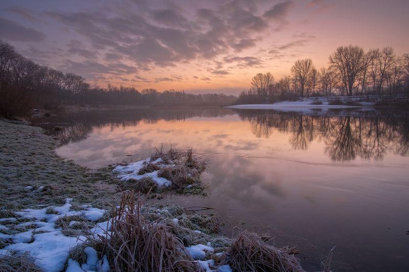 рассвет,утро,река,мороз,иней,природа,пейзаж,вода,десна Рассвет на Деснеphoto preview