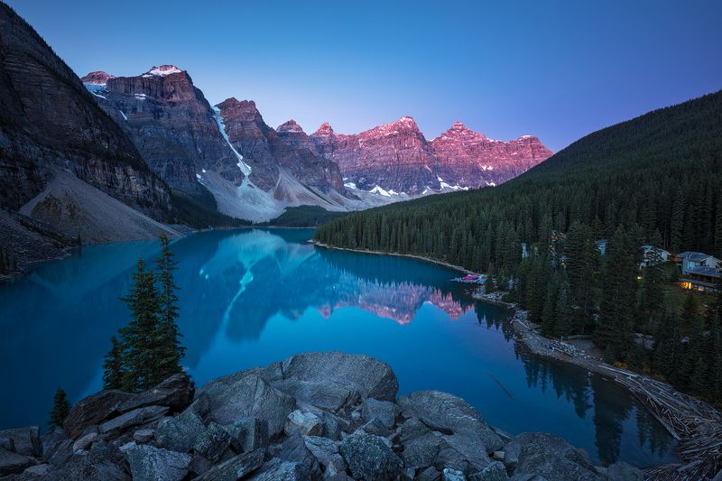 moraine, lake, canada, morning, peaks, banff, national park, mood, twilight, dawn, sky, reflection, colors, rocks, trees Moraine Lakephoto preview