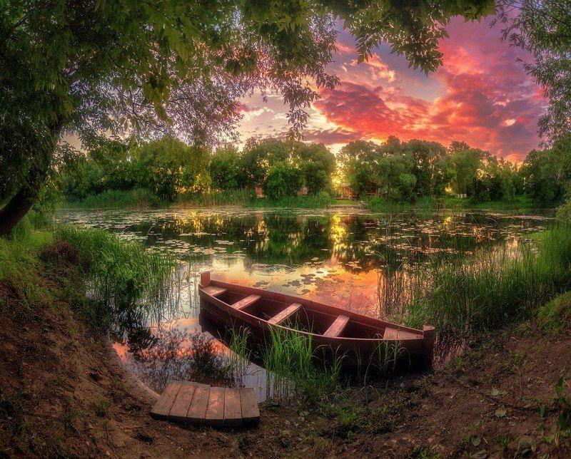 воронеж, усманка, река, пейзаж, лето, лодка, закат Розовый вечер на Усманке, Воронежская областьphoto preview