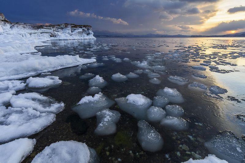 байкал, лед, закат, снег, вода, природа Мини-айсбергиphoto preview