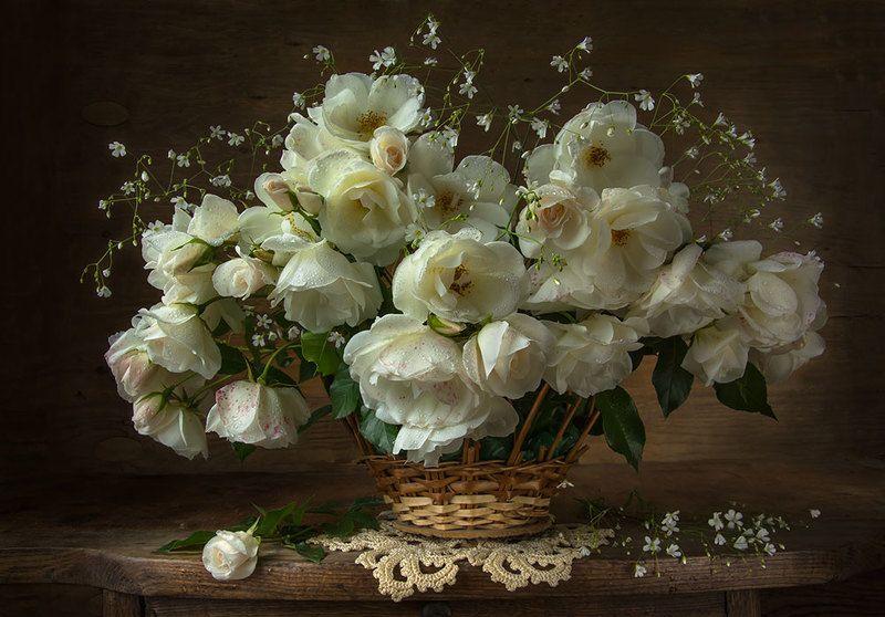 красивый натюрморт с розами,букет,садовые цветы,искусство.творчество,художественное фото. Розы в корзине.photo preview