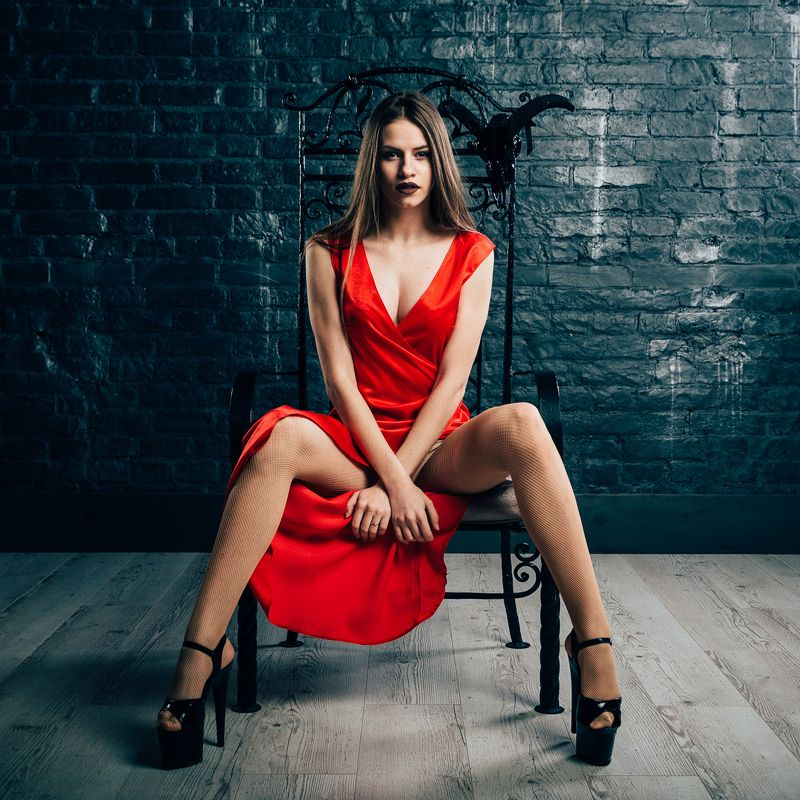 girl,beauty,red,dress,chair,heels,sexy,wall,studio Devilishlyphoto preview