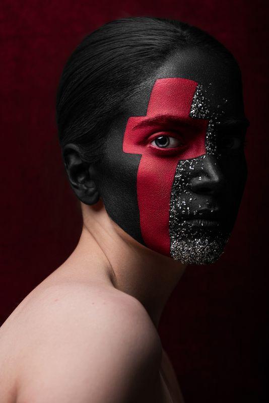 beauty, concept, fine art, red, cross, dark portrait, portrait, make up, world war ii The Red Crossphoto preview