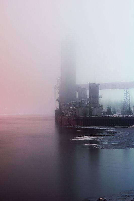 зима, туман, Рыбинск, Волга, утки, речка, порт, вода Сквозь туманphoto preview
