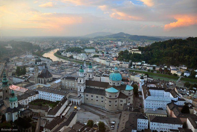 австрия, зальцбург, река, зальцах, закат Закат над рекой Зальцахphoto preview