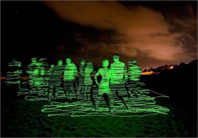лазер, светопись, куба, пляж Замороженные лазеромphoto preview
