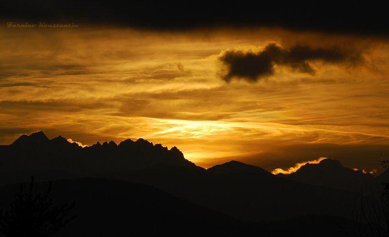 закат, горы, осетия \