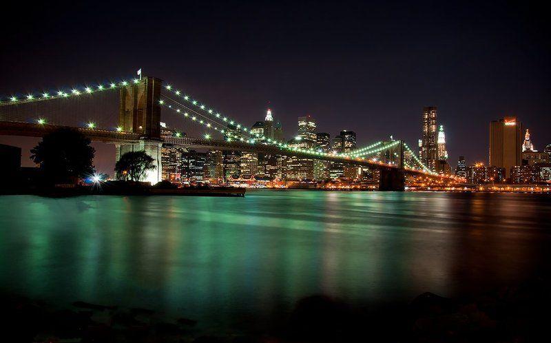пейзаж, нью-йорк, мост, вода, город, огни, небоскреб Romance of New Yorkphoto preview