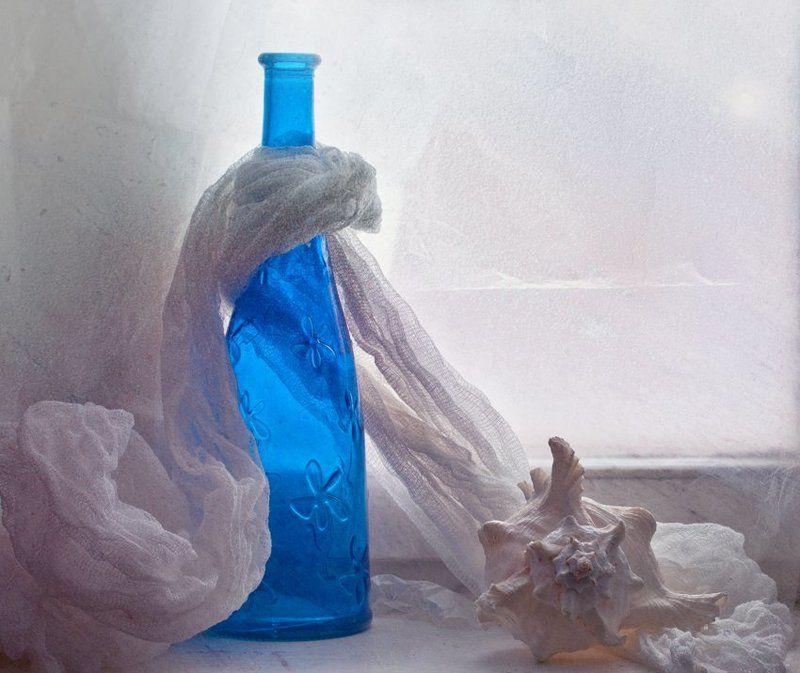 бутылка, ракушка -photo preview