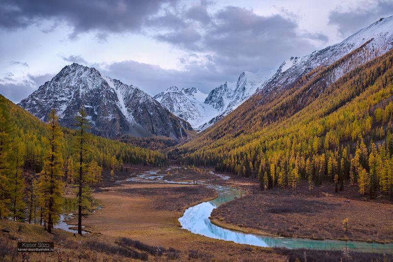 россия, горный атай, алтай, шавла, шавлинские озера, золотая осень, горы, лиственницы, горы, отражение, река, бирюзовый Бирюзовый изгибphoto preview