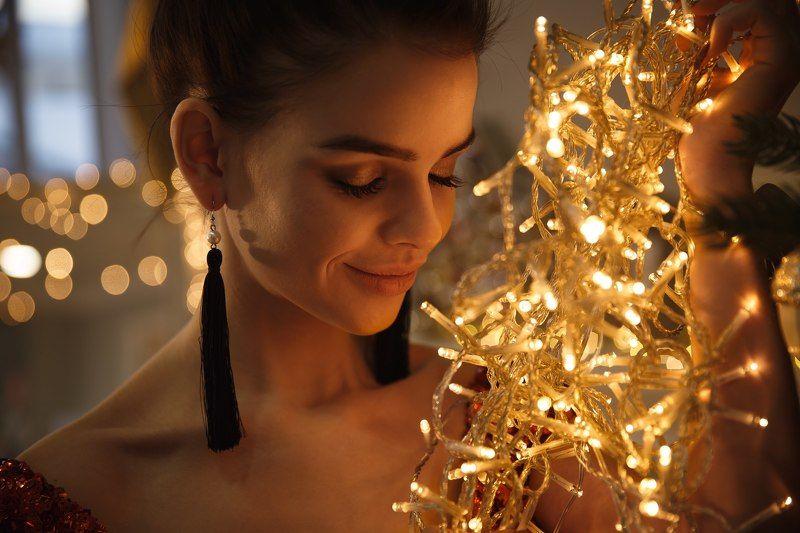 девушка, рождество, огни, волшебство Татьянаphoto preview