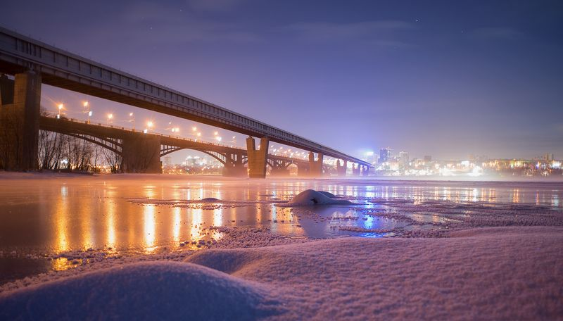 новосибирск, метромост, зима, обь, мост Предутренняяphoto preview