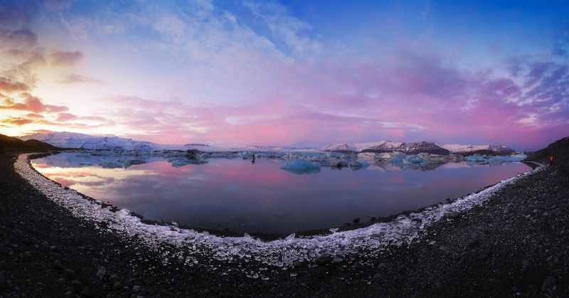 Iceland, icebergs, lagon, reflaction, ice, glacier, clouds, sunset, water, arctic, fisheye Glacier lagoonphoto preview