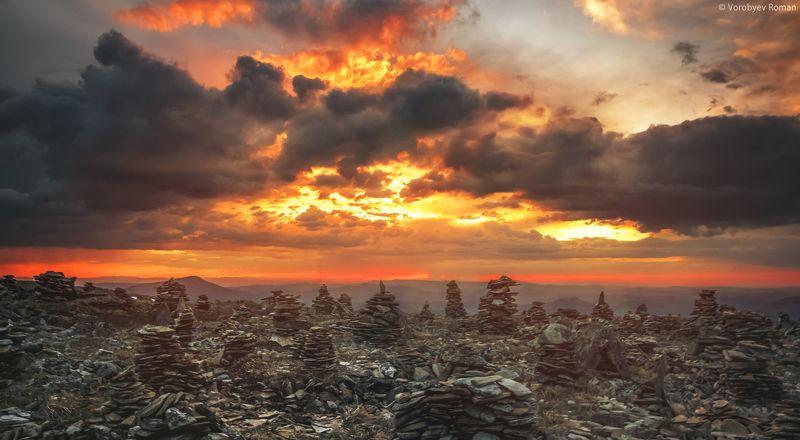 алтай, горы,  горный алтай, закат, небо Взрывной закатphoto preview