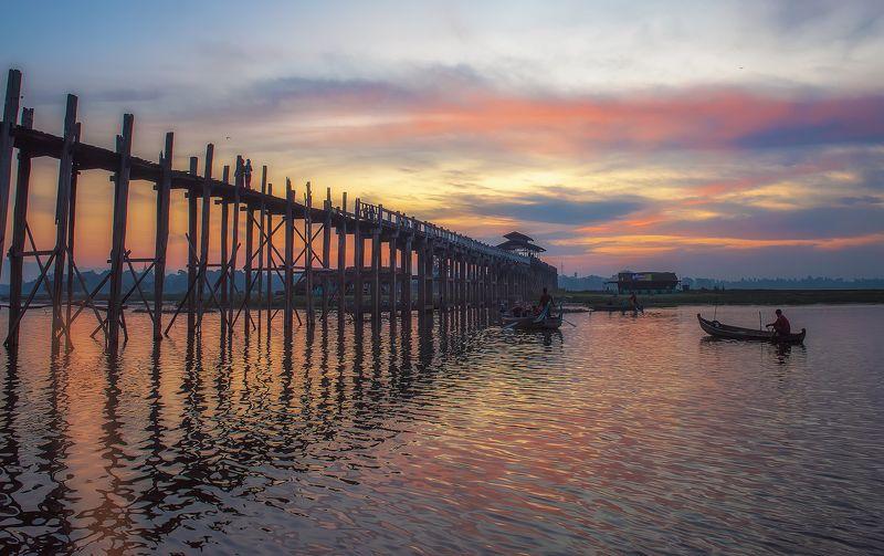 пейзаж,рассвет,путешествие,мост,тиковый,бирма,азия,u,bein,bridge,myanmar, Такие разные рассветы...photo preview