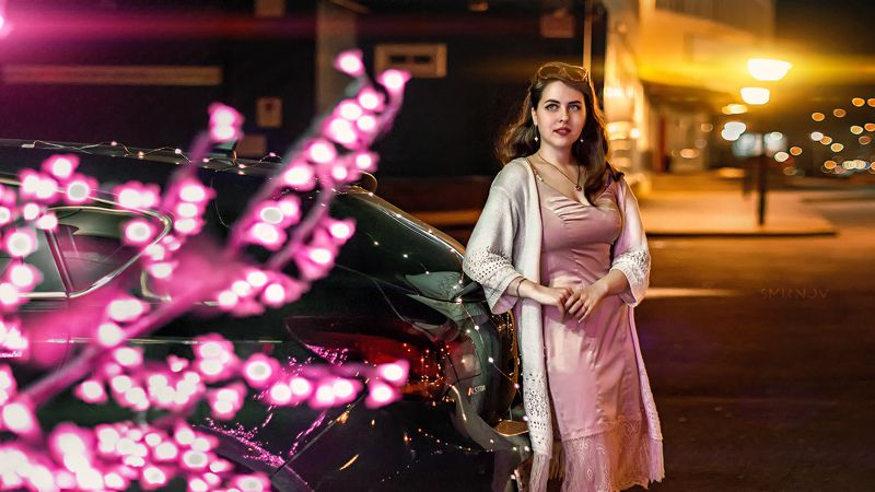 девушка, портрет, вечер, город, свет, боке Ксюшаphoto preview