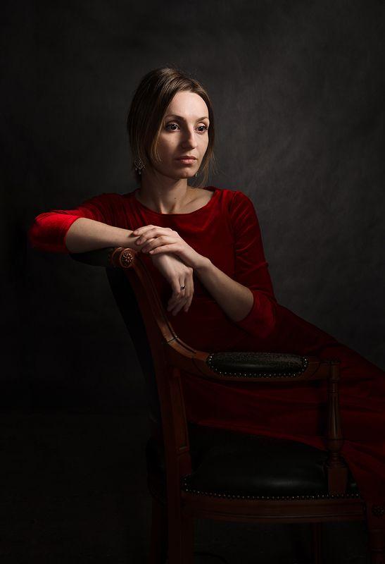 портрет, классический, фотостудия, живописный, низкая тональность, светопись, философский, психологический, женский, взгляд, art, studio, davydov Портрет Катериныphoto preview