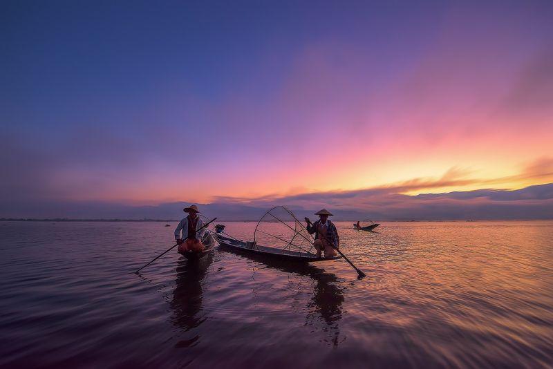 путешествие,Инле,Бирма,рыбаки,пейзаж,озеро, Утро на озере Инле.photo preview