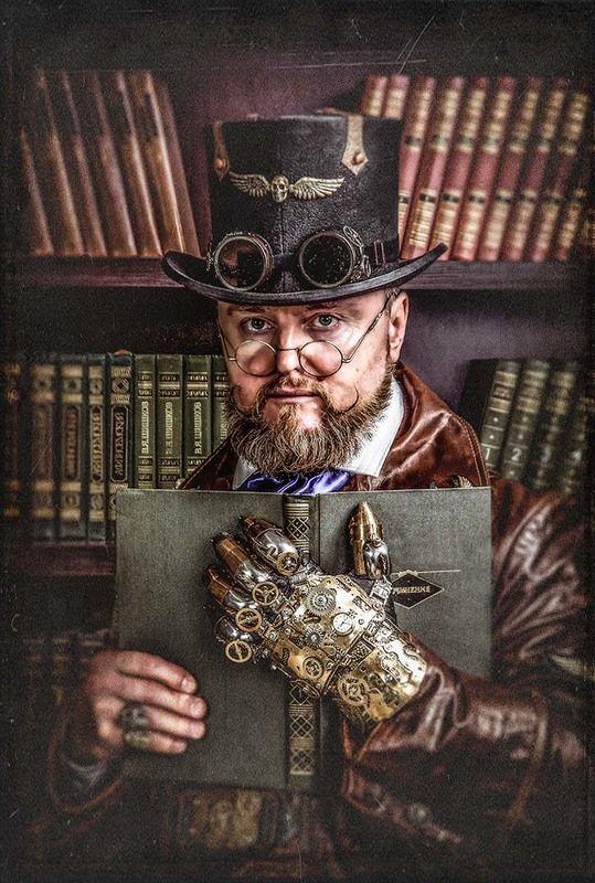 стимпанк,портрет,мужчина,очки,гогглы,steampunk,жанр,жанровый портрет,ч/б,глаза,викторианская эпоха,доктор Маркус,Лорд командующий,библиотека,книги,механическая рука Доктор Маркусphoto preview