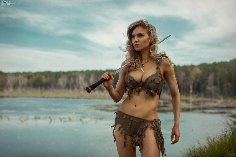 амазонка, амазонки, воительница, воин, копье, девушка воин, amazons, amazon, лук, стрелы, горы, озеро, меч, фитнес бикини, девушка с мечом Амазонкаphoto preview