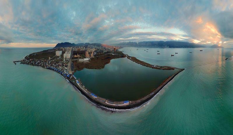 аэрофотосъемка, дрон, Новороссийск, панорама, город, черное море, dji mavic pro Рассвет над Новороссийскомphoto preview