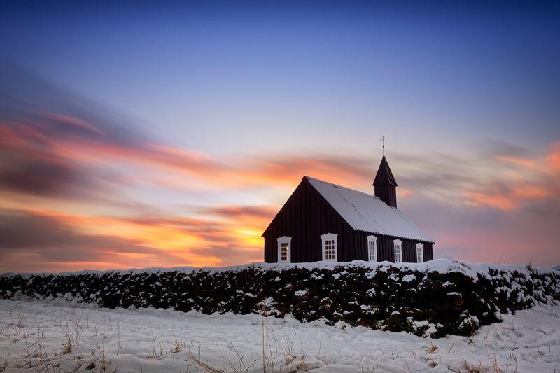 исландия, iceland, sunset, церковь, church, budir Огонь, холод и вераphoto preview