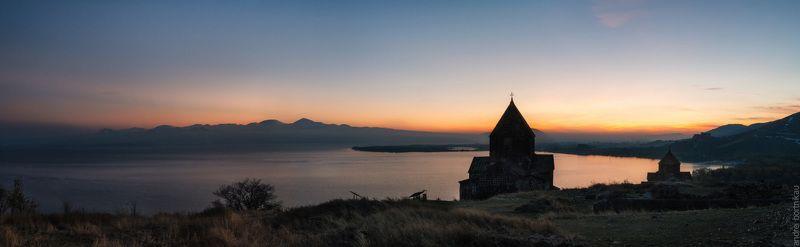 армения, севан, храмы, закат, озеро, пейзаж, панорама Севанphoto preview