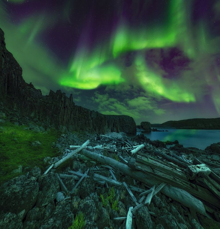 aurora borealis, северное сияние, кольский полуостров, дальние зеленцы После штормаphoto preview