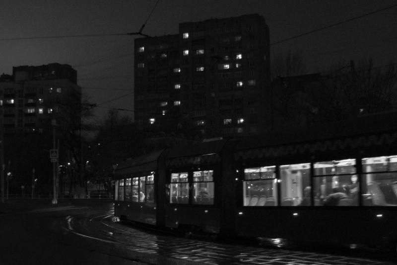 #улица #чб #римская #трамвай Ночная Римскаяphoto preview