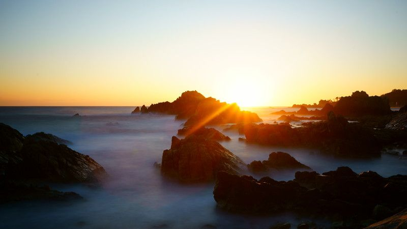 south korea,kangwondo,sunrise,winter,sea,seascape,water fog,sun,horizontal,sunlight,rock island,january,2018 Sunrise, january 1, 2018photo preview