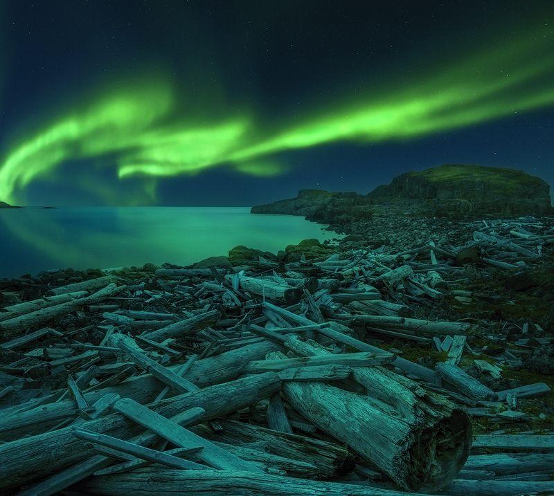 Кольский, Северное сияние, aurora borealis, Дальние Зеленцы Под Авроройphoto preview