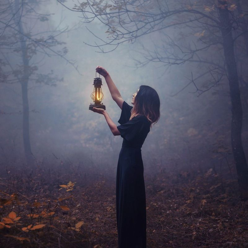 magic, forest, fog, girl, witch, twilight, mystic Mystical forestphoto preview