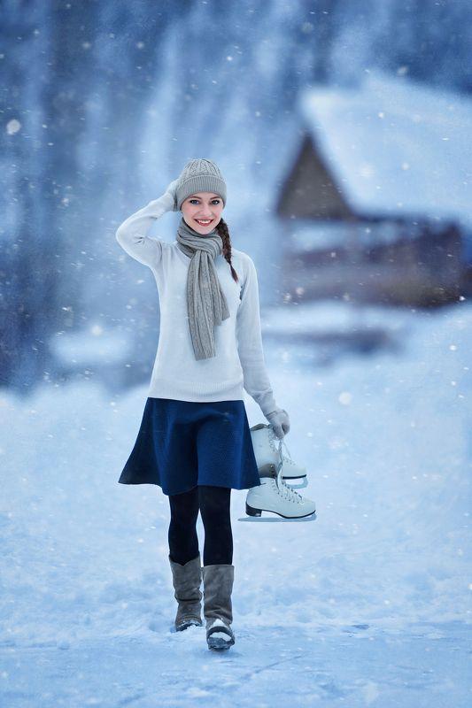 Коньки, фигуристка, лед, зима, парк, пруд, снег Фигуристкаphoto preview