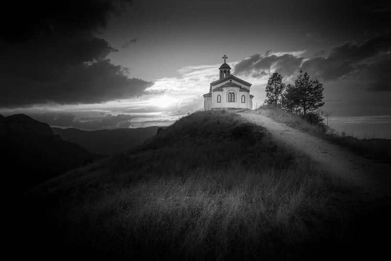 chapel, sunset, black and white, clouds, dramatic Chapelphoto preview