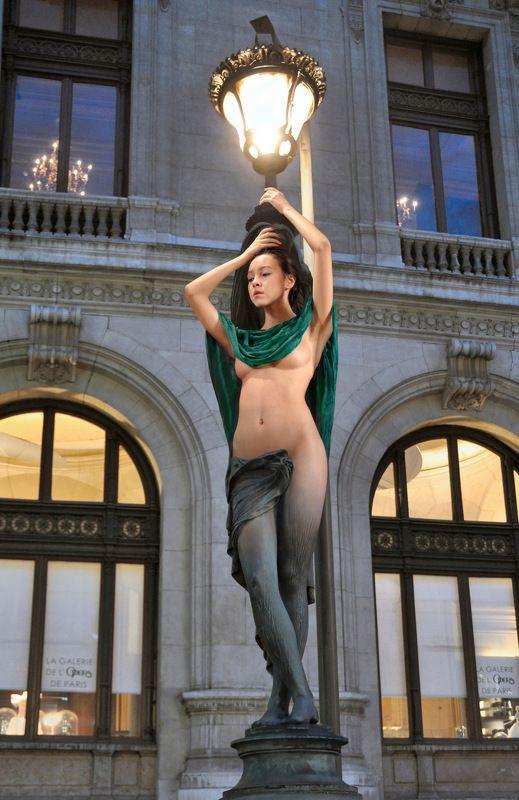 sculpture, art, bronse, statue, lamp, evening, girl, nude, model, posing, paris, opera, collage Evening Starphoto preview