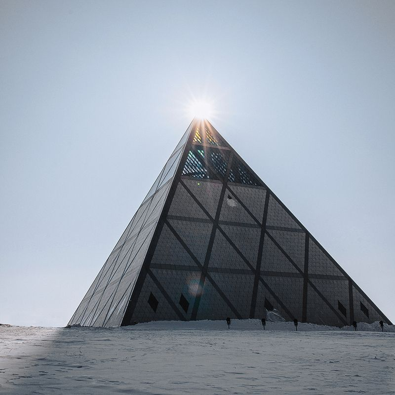 pyramid, Kazakhstan, Astana, Palace of Peace and Reconciliation, winter Пирамидаphoto preview
