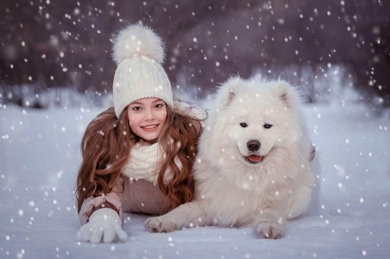 funny, smile, cute, girl, dog, winter, snow, friends, portrait, девочка, собака, дружба, зима, снег Varya and Bonyaphoto preview