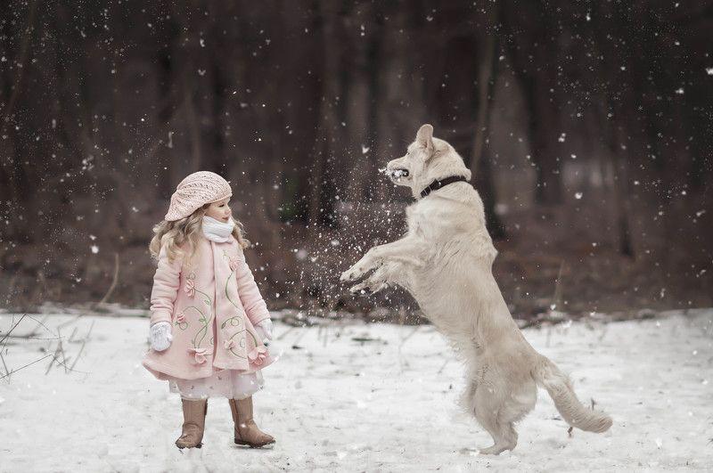 зима, снег, снежки, девочка, друзья, парк, лес Игра в снежкиphoto preview