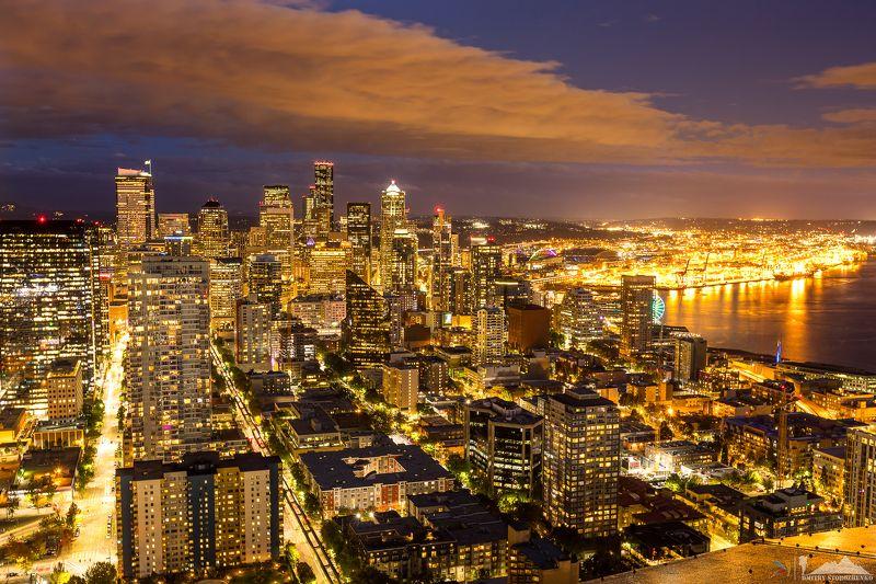 город, сиэтл, штат, вашингтон, красиво Красочный город Сиэтл после закатаphoto preview