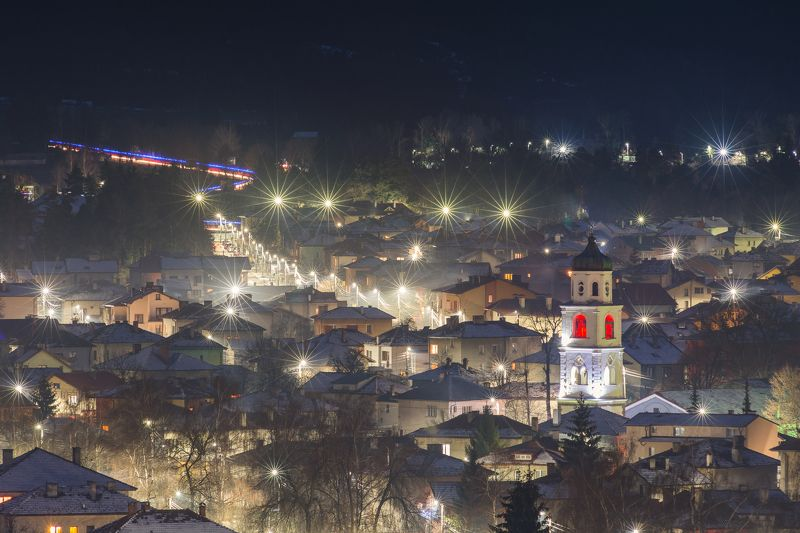 Night, city, landscape, trails, lights, houses, snow, winter  Night in Samokovphoto preview