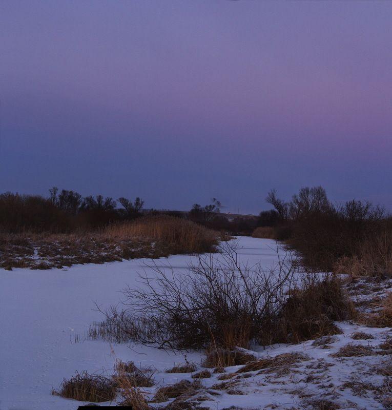 пейзаж река сумерки зима Сумерки над Ирсетью.photo preview